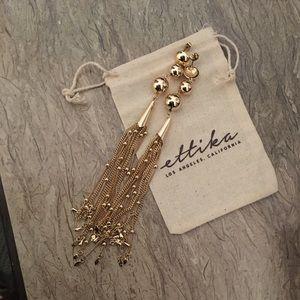 New Ettika Gold Tassel Chain Earrings